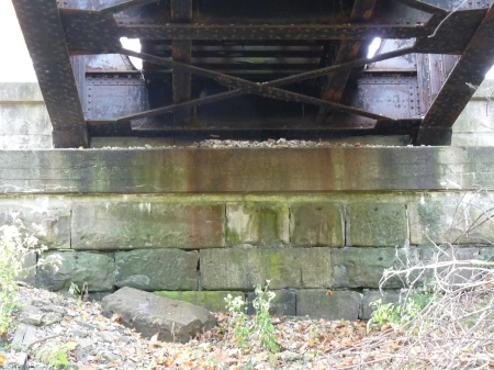 view of the canal era stone, southern abutment, Petersburg bridge