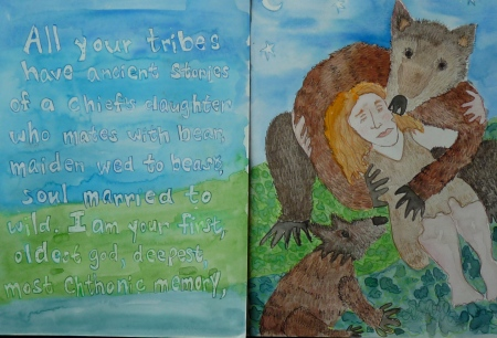 Inside pages of Great Mother Bear Book